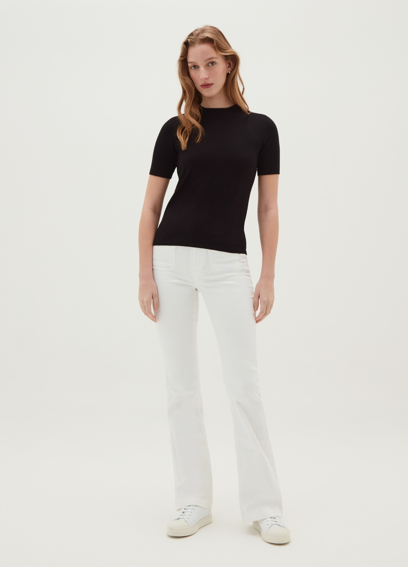 Pullover with short sleeves and round neck image number null
