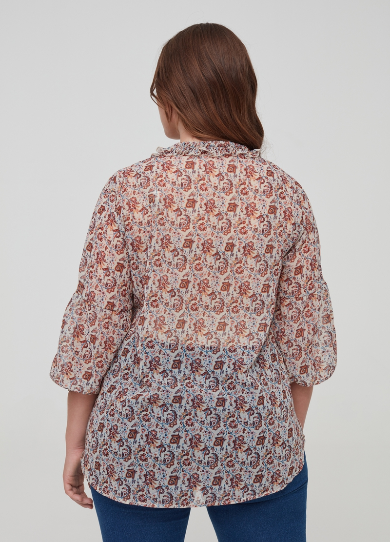 Blusa con rouche fantasia Curvy image number null
