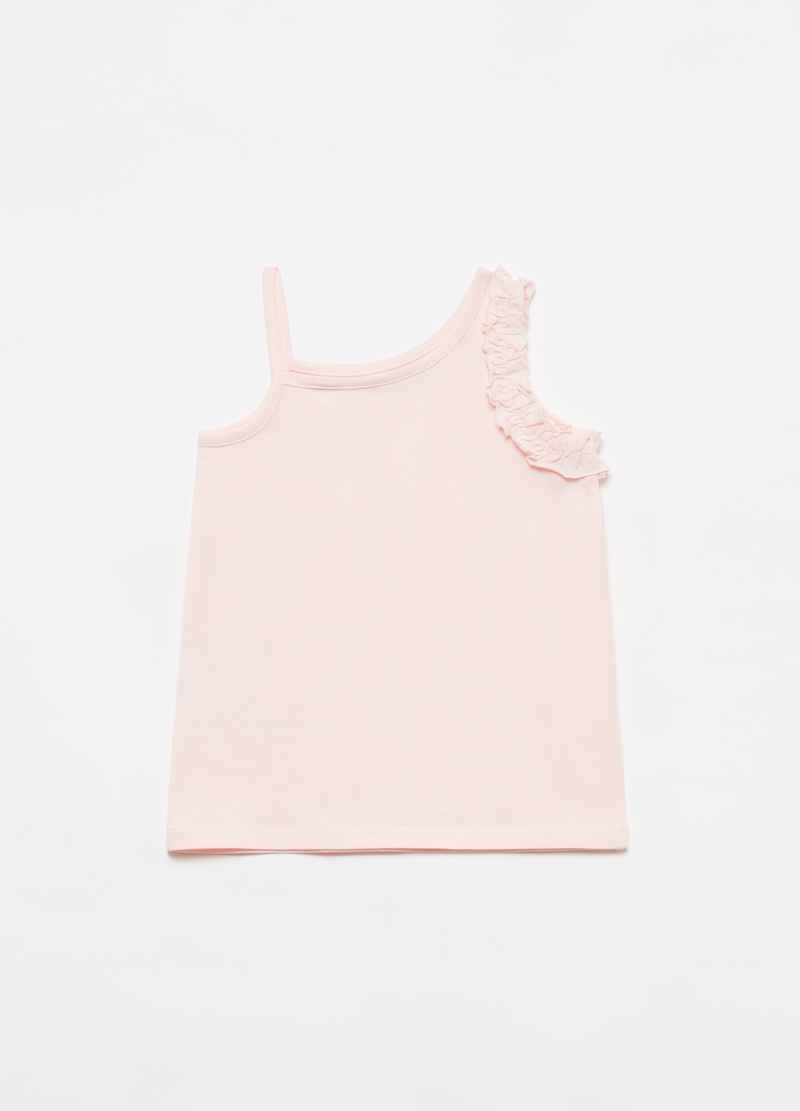 Tank top con rouche e cuore in strass image number null