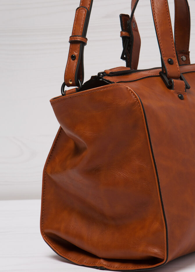 Leather look bag with adjustable strap.
