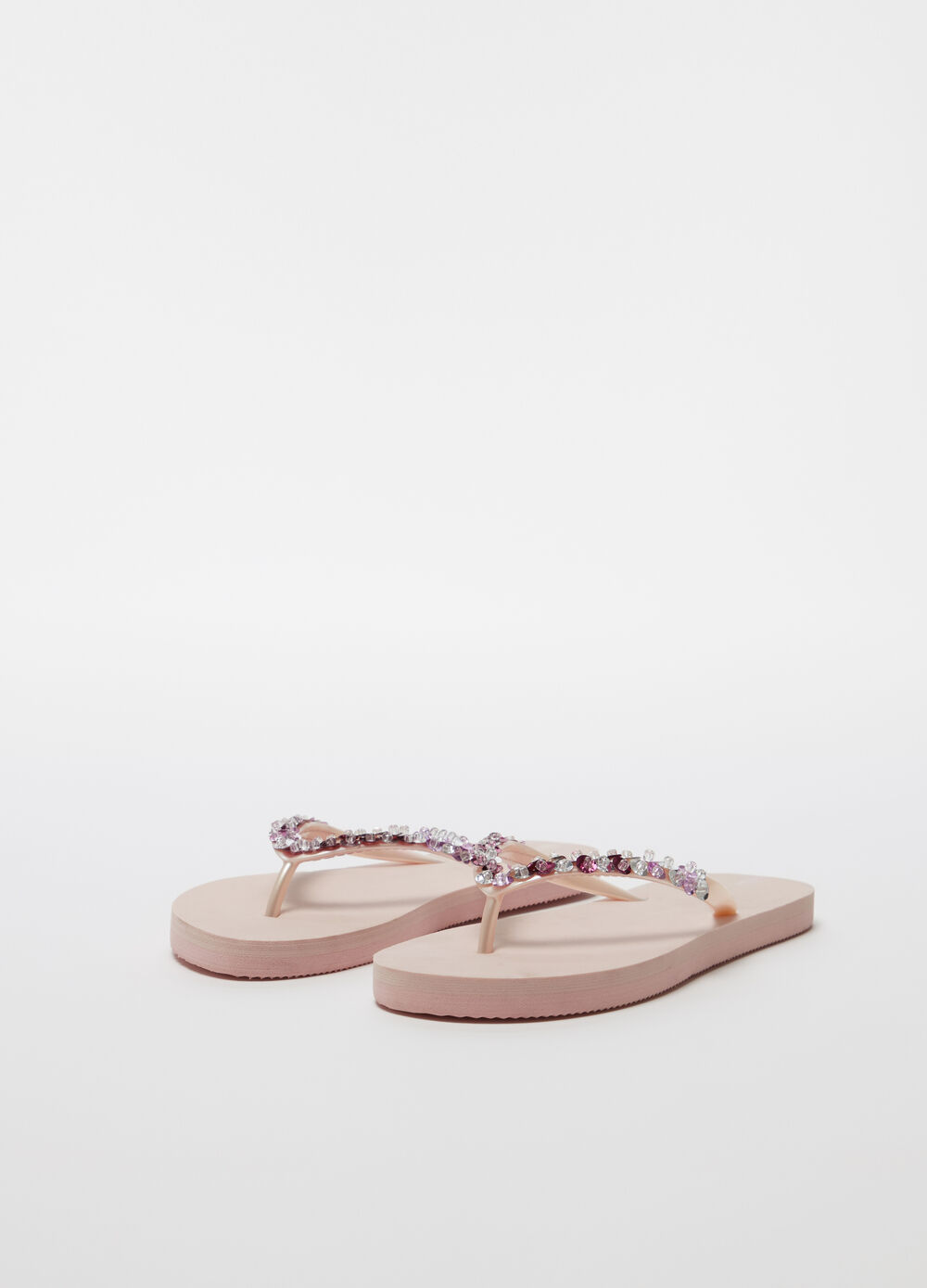 Thong sandals with transparent beads