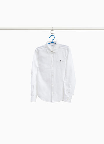 Shirt in cotton and linen with pocket
