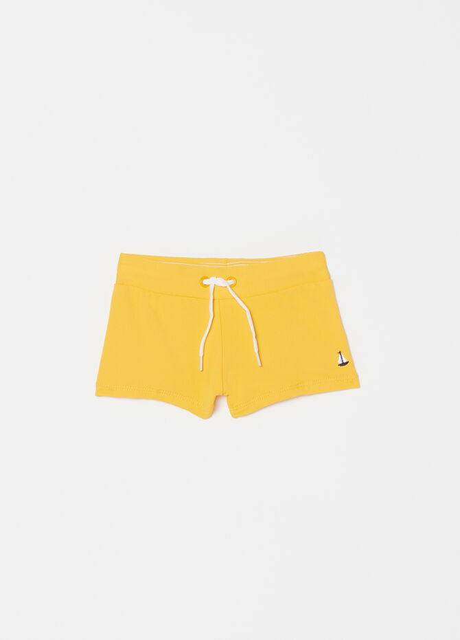 Solid colour swim trunks with drawstring