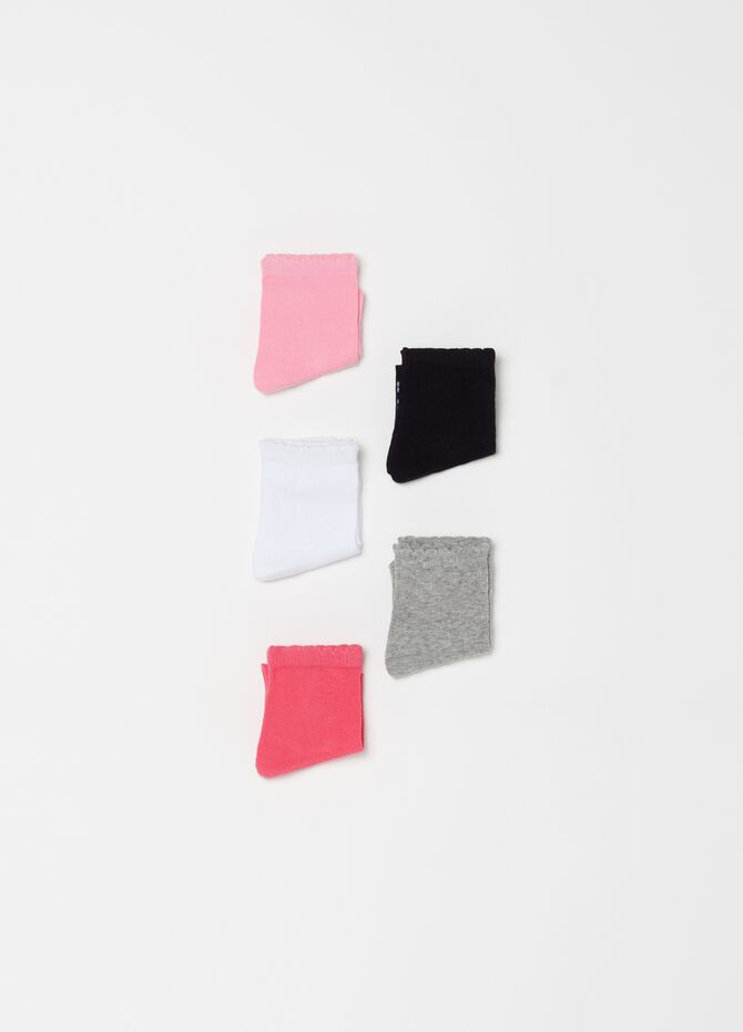 Five-pack stretch short socks with lace