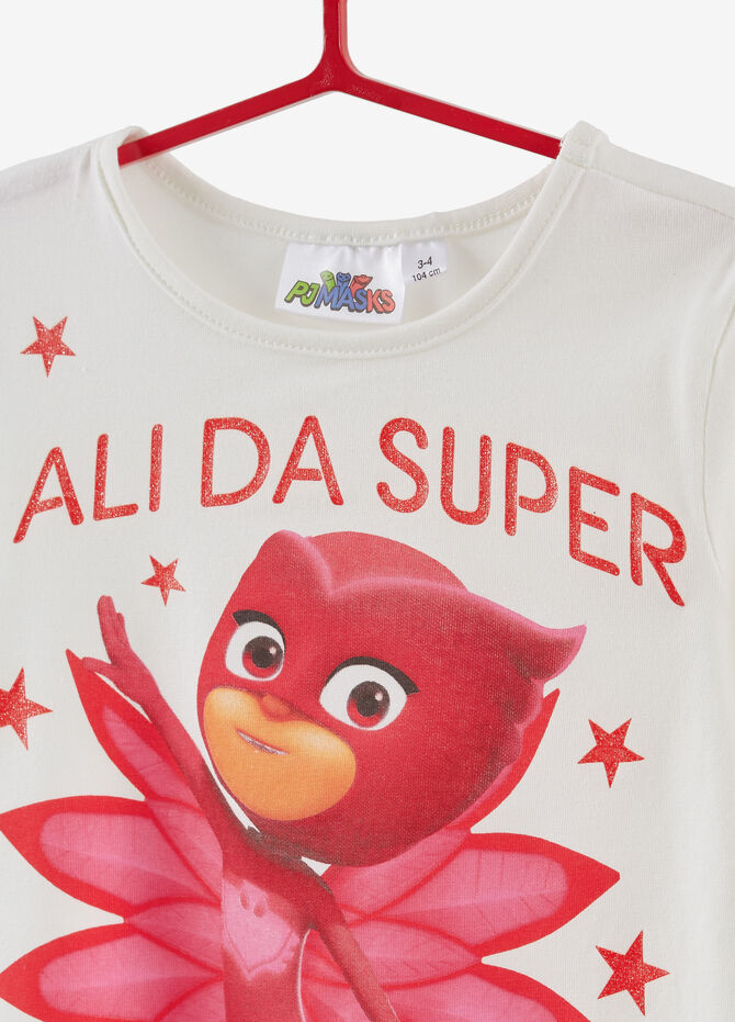 Stretch cotton T-shirt with PJ Masks print