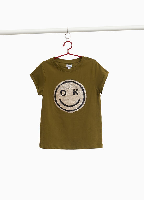 Cotton T-shirt with smile sequins