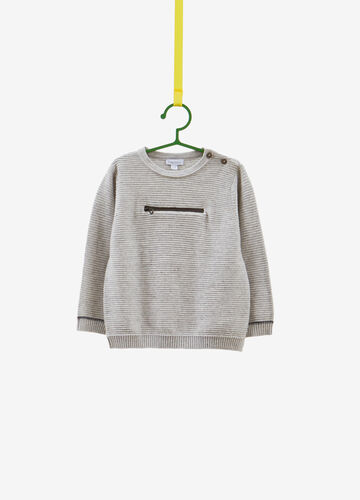 Striped weave pullover in 100% cotton