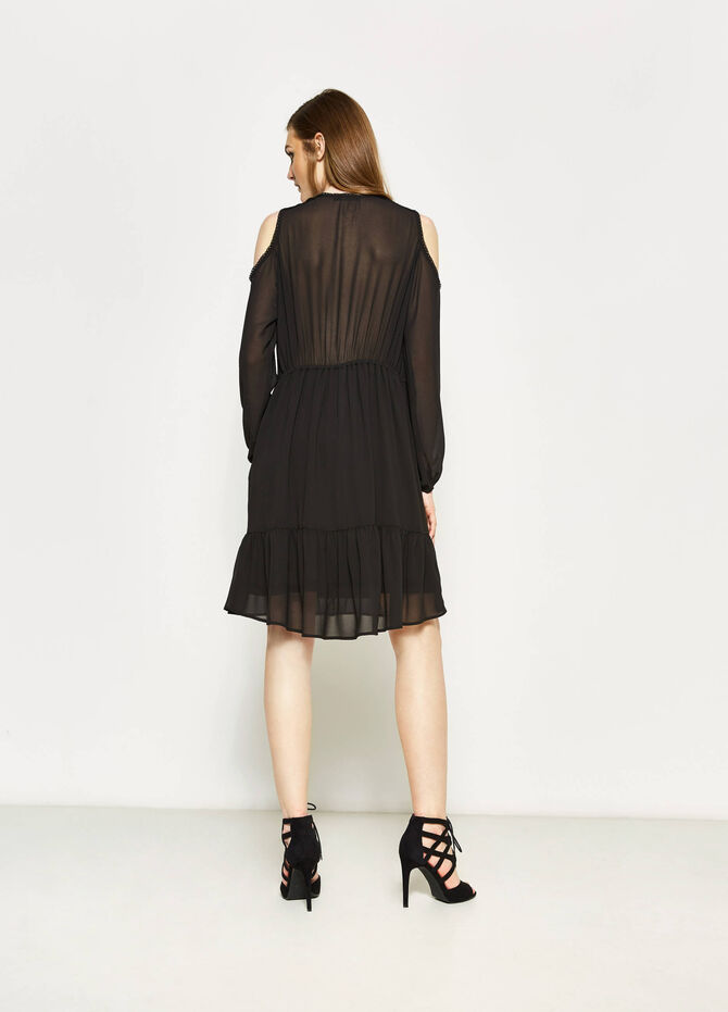Dress with lace and drawstring