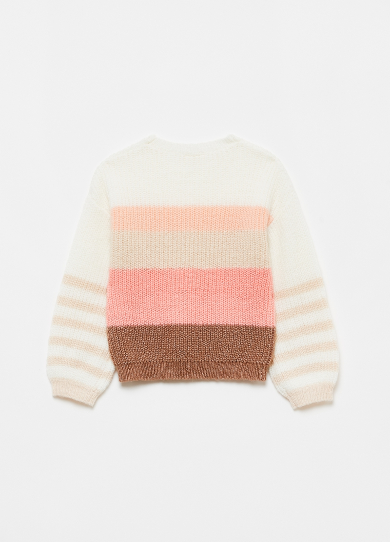 Striped pullover with puff sleeves image number null