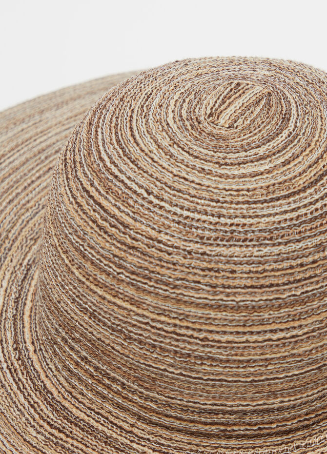 Striped straw-effect hat in natural colours