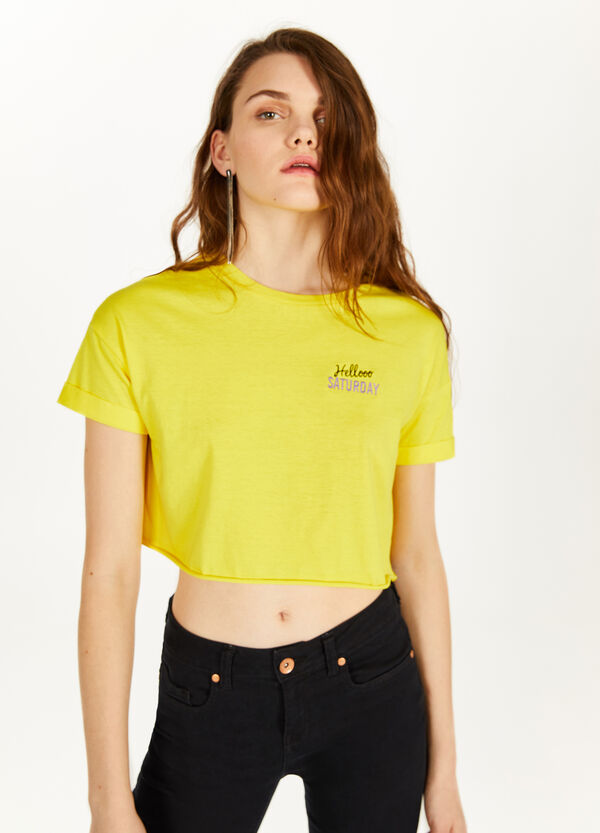Embroidered 100% cotton crop T-shirt