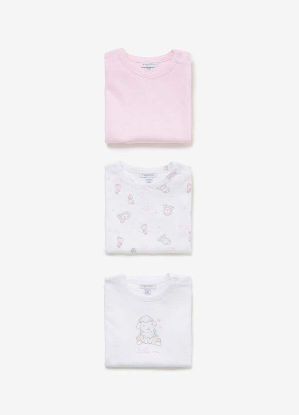 Three-pack cotton solid colour and animals bodysuits