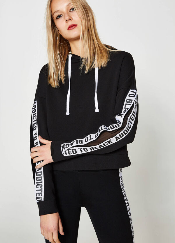 Crop sweatshirt with bands and inserts | OVS