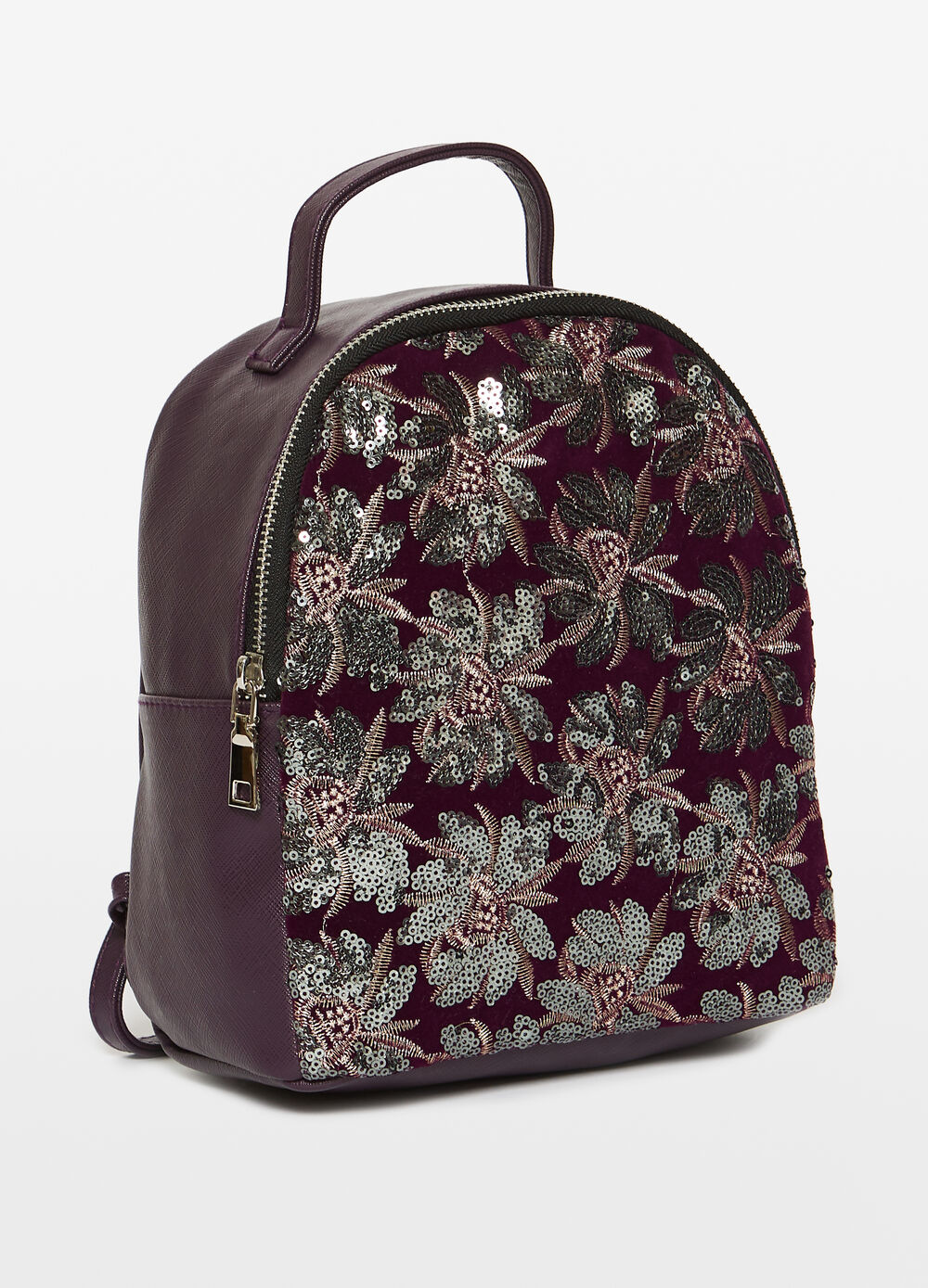 Backpack with floral embroidery and sequins