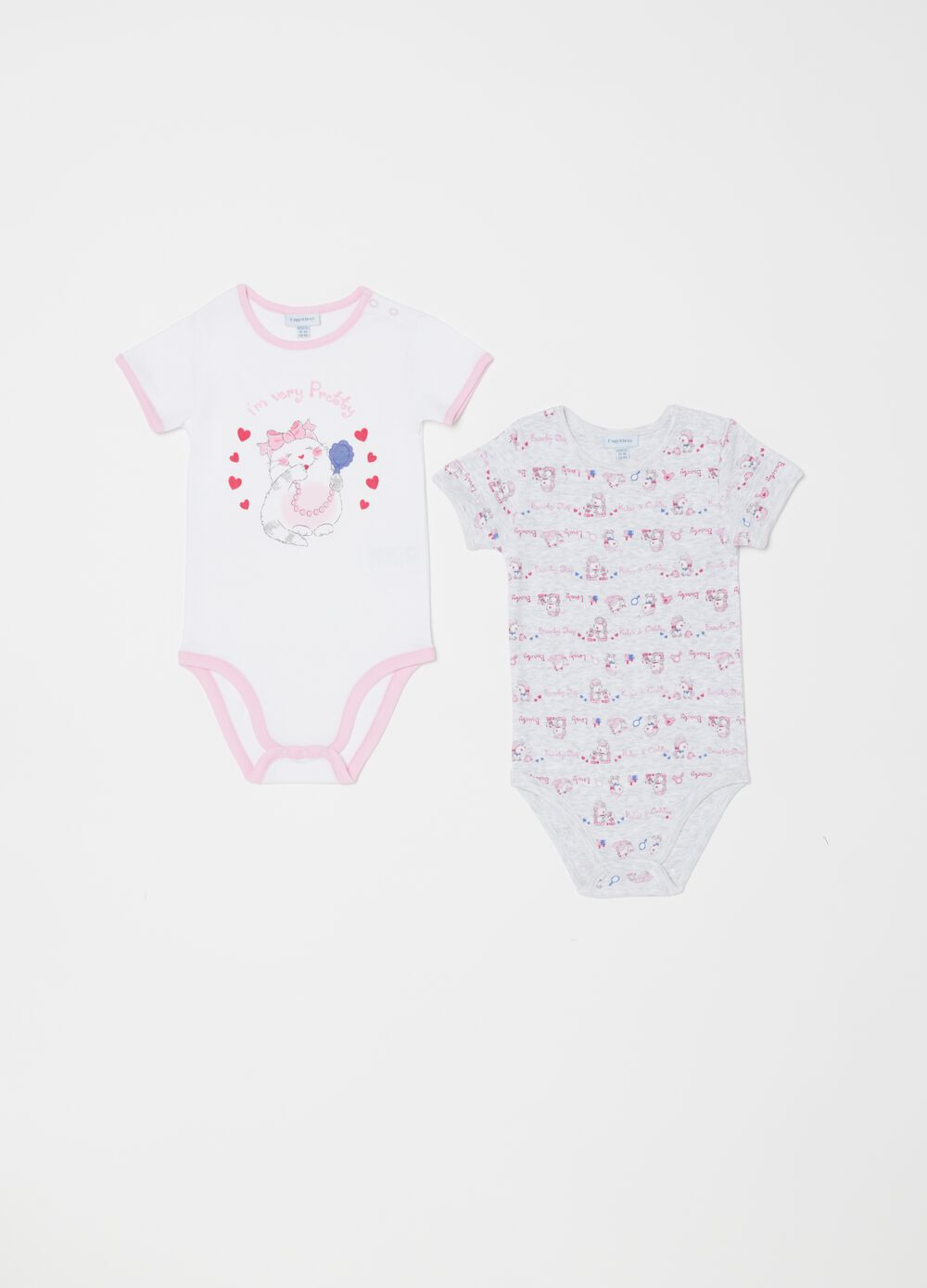 Set due body biocotton maniche corte fantasia