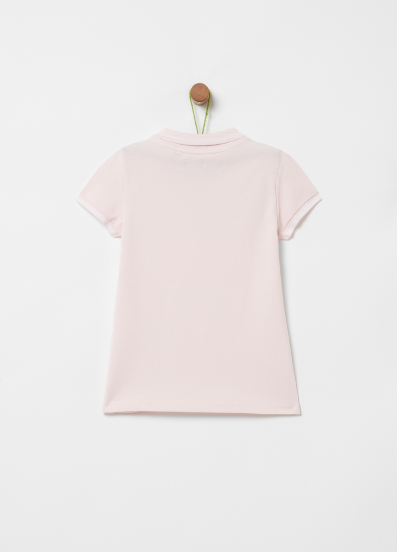 Polo shirt in stretch cotton with striped edging image number null