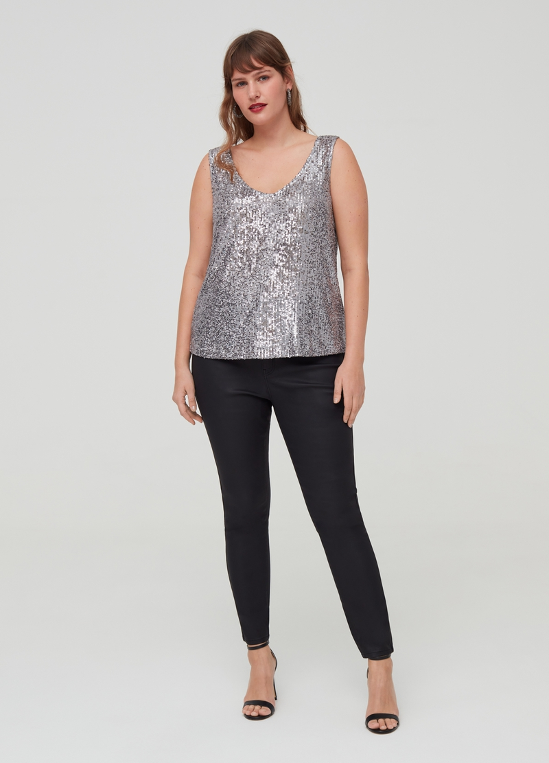 Curvy V-neck top with sequins image number null