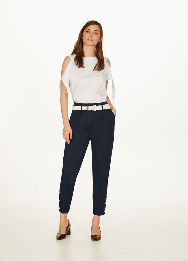 Stretch crop trousers with crease