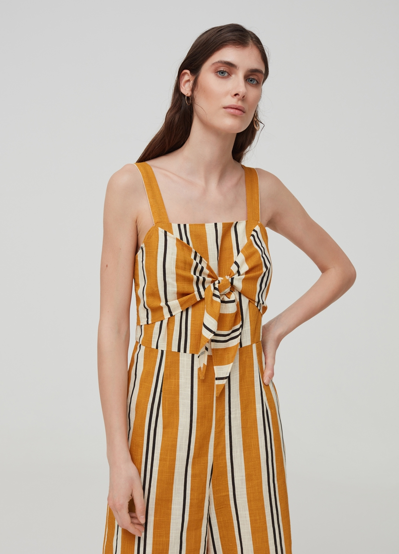 Playsuit with bow and striped pattern image number null