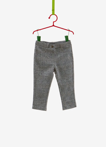 Viscose blend trousers with tartan pattern