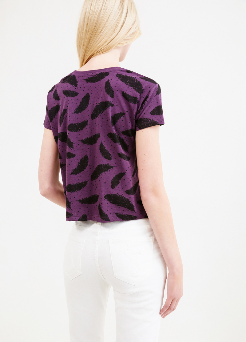 T-shirt crop cotone fantasia piume image number null