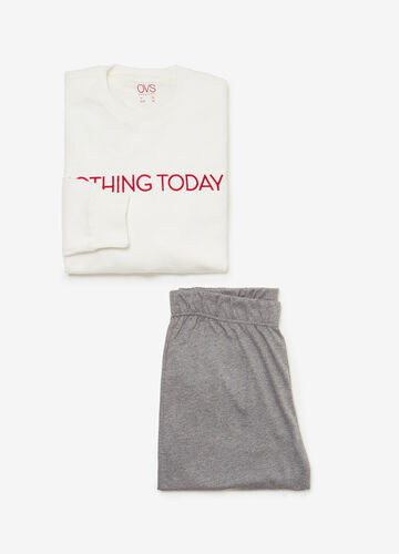 Pyjama trousers and sweatshirt with lettering embroidery