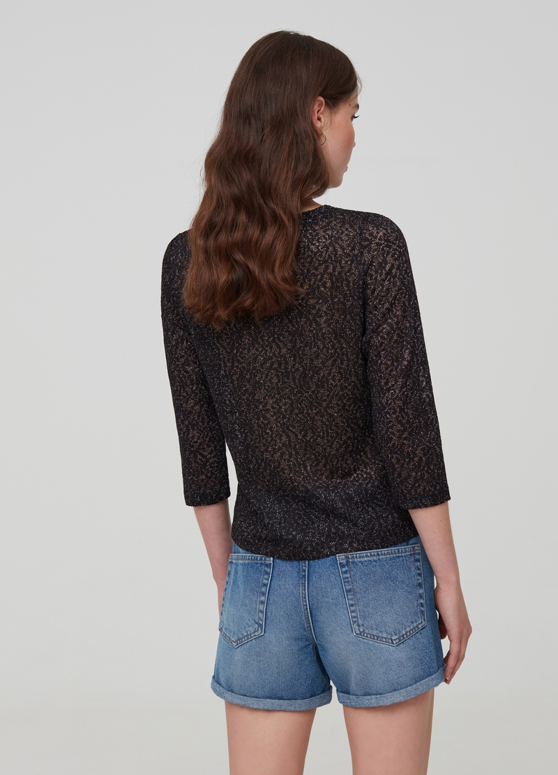 T-shirt with lace-effect three-quarter sleeves image number null