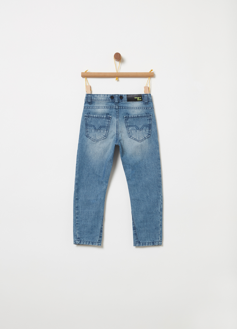 Tapered joggers in stretch denim image number null