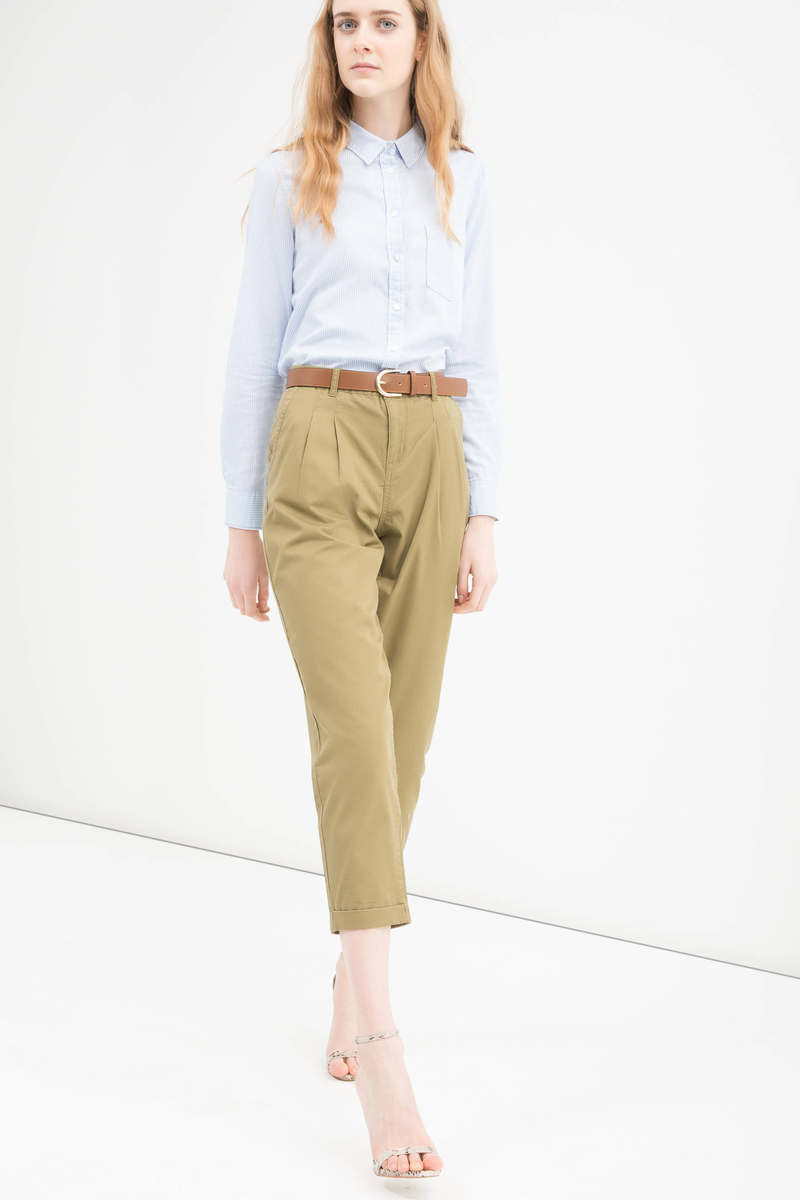 100% cotton trousers with high waist image number null