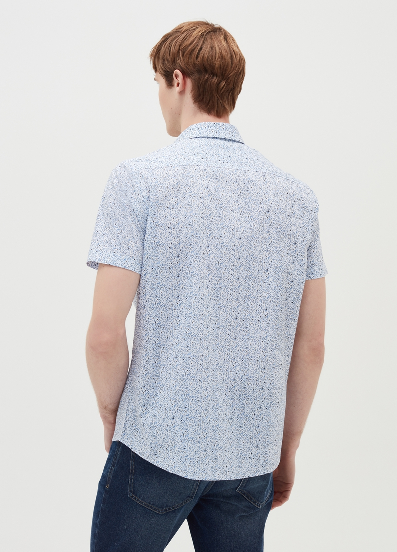 Regular-fit shirt with short sleeves and pattern image number null