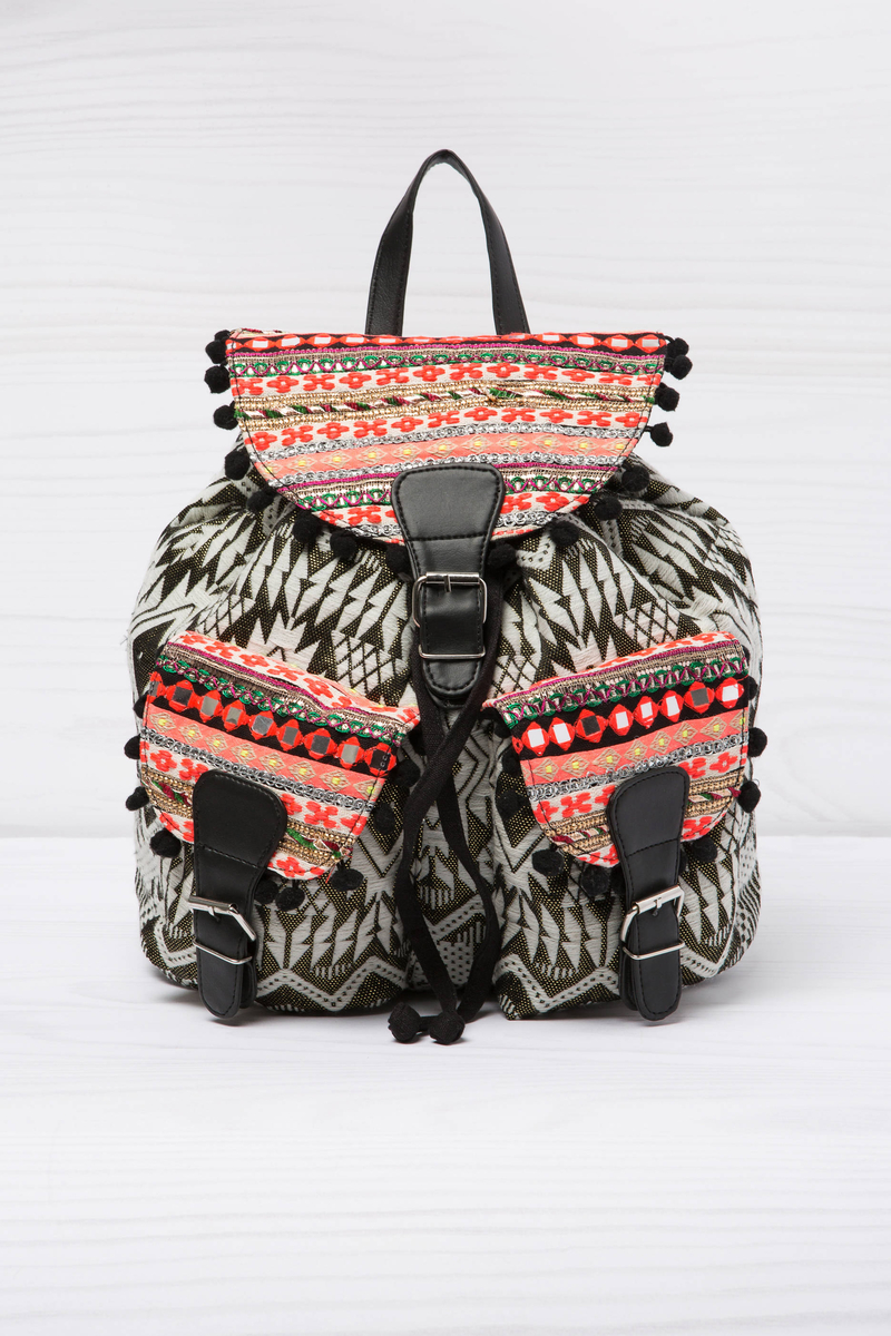 Patterned cotton backpack image number null