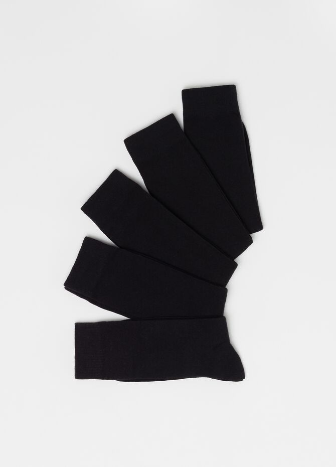 Five-pair pack midi socks in warm cotton