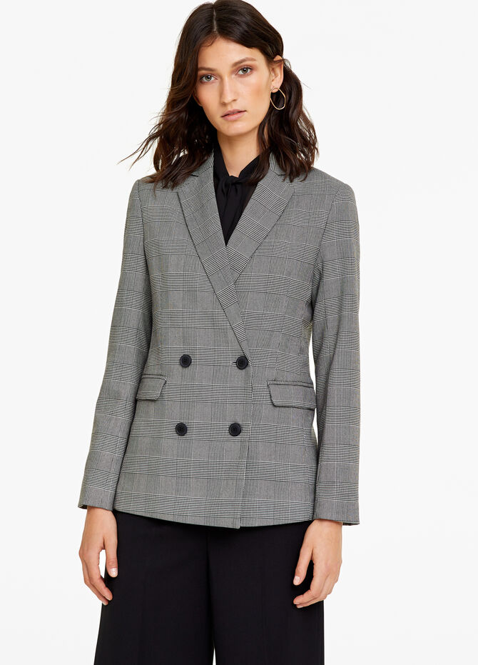 Double-breasted blazer with check pattern