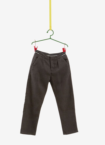 Stretch check trousers with striped waistband
