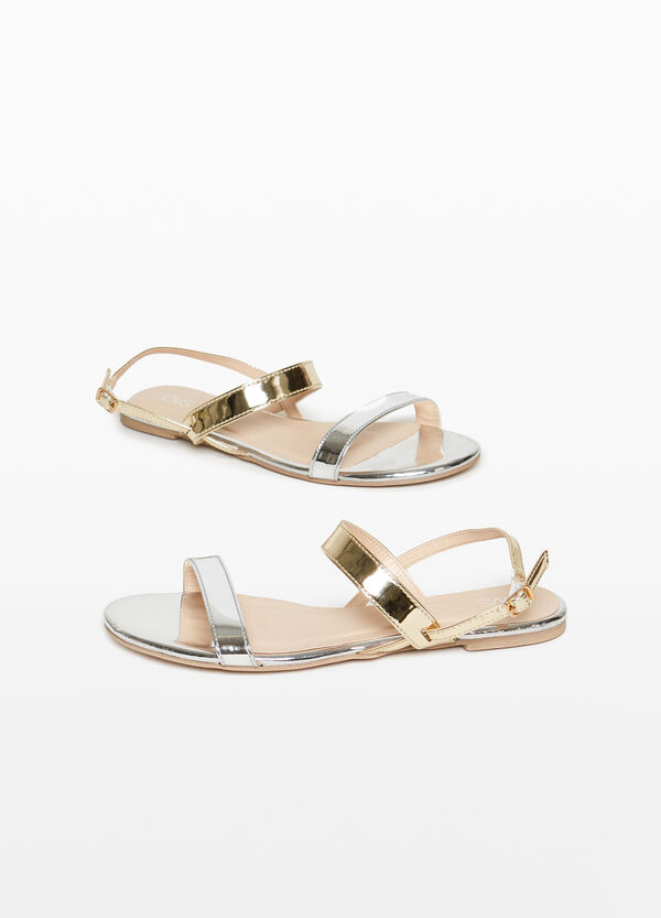 Sandals with shiny straps on the upper