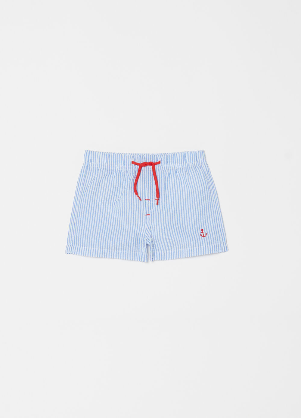 Stretch seersucker swim boxer shorts with drawstring
