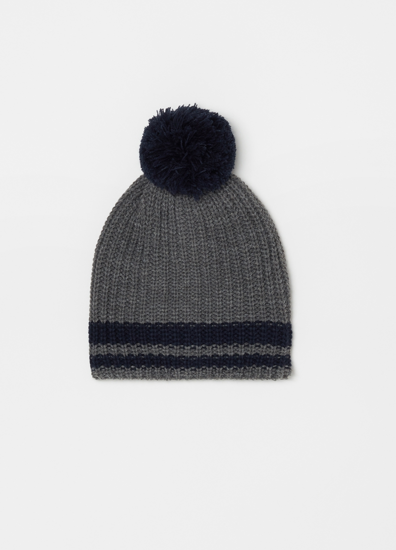 Knitted hat with pompom image number null