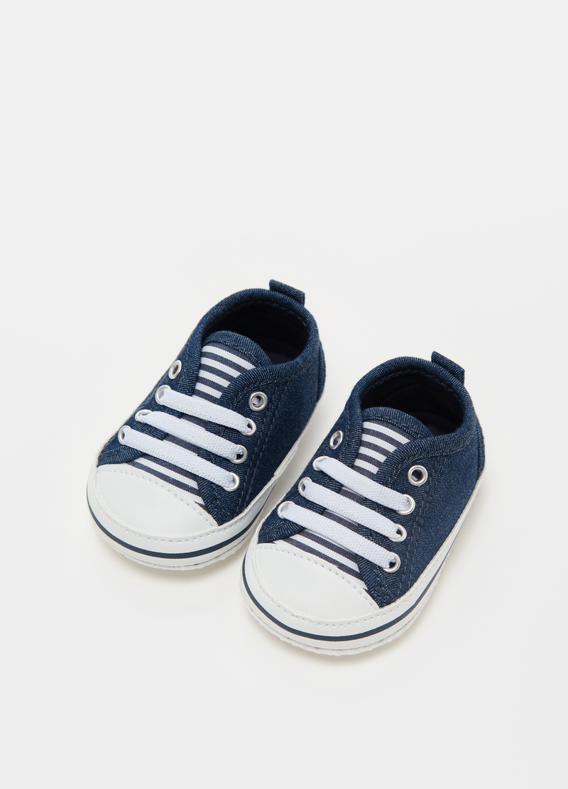 Lace-up shoes in denim image number null