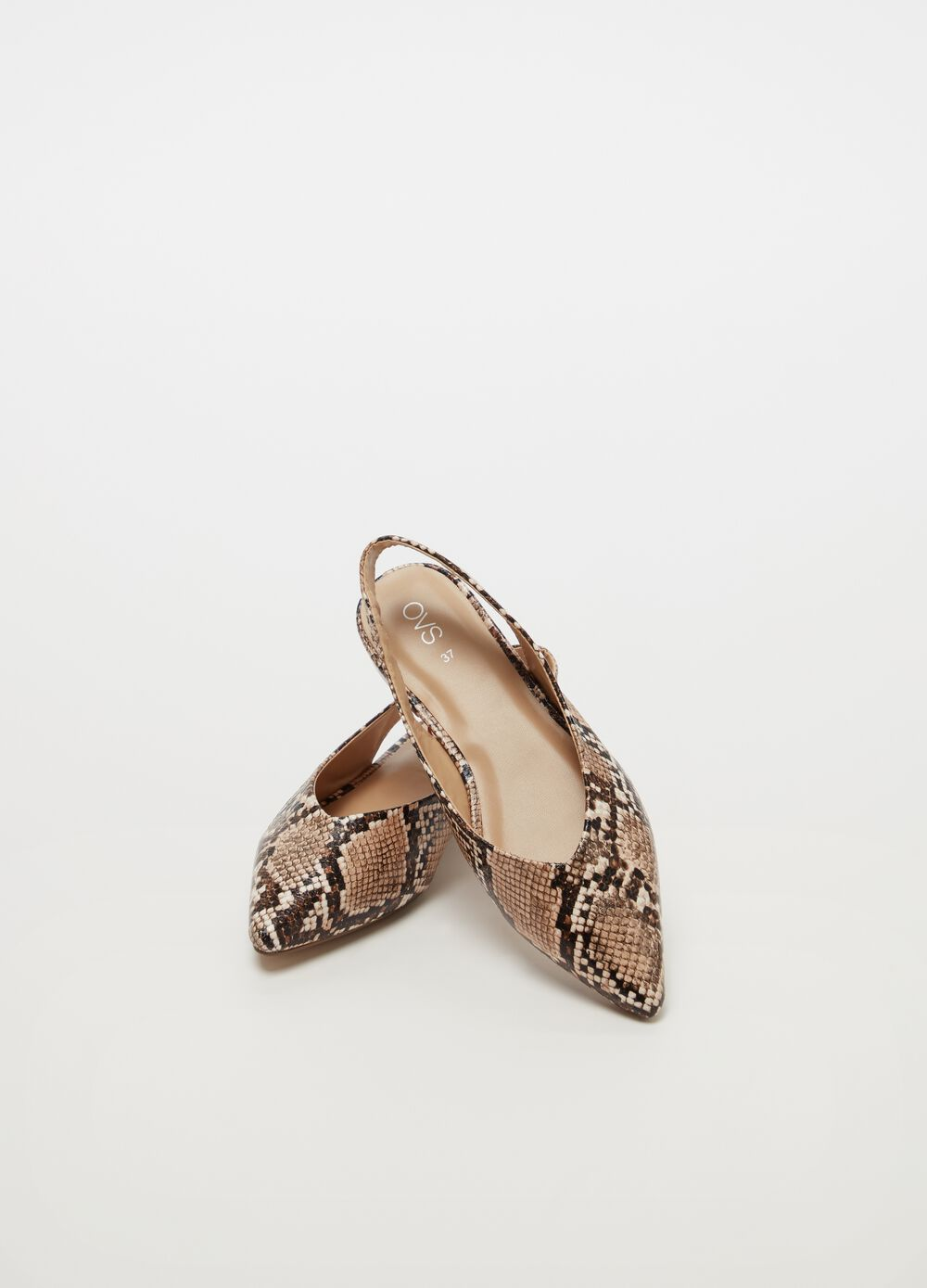 Slingback sandals with snakeskin pattern