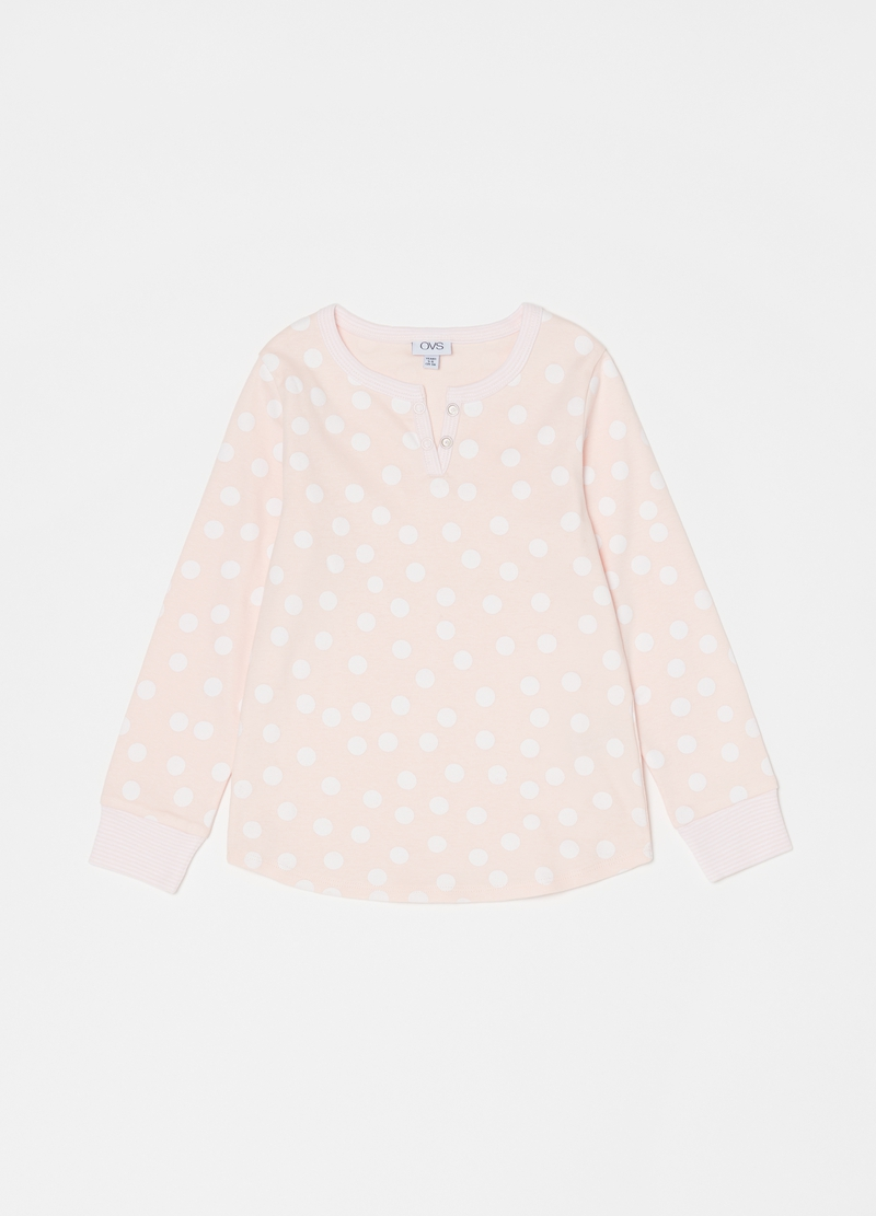Long polka dot and striped pyjamas with granddad neckline image number null