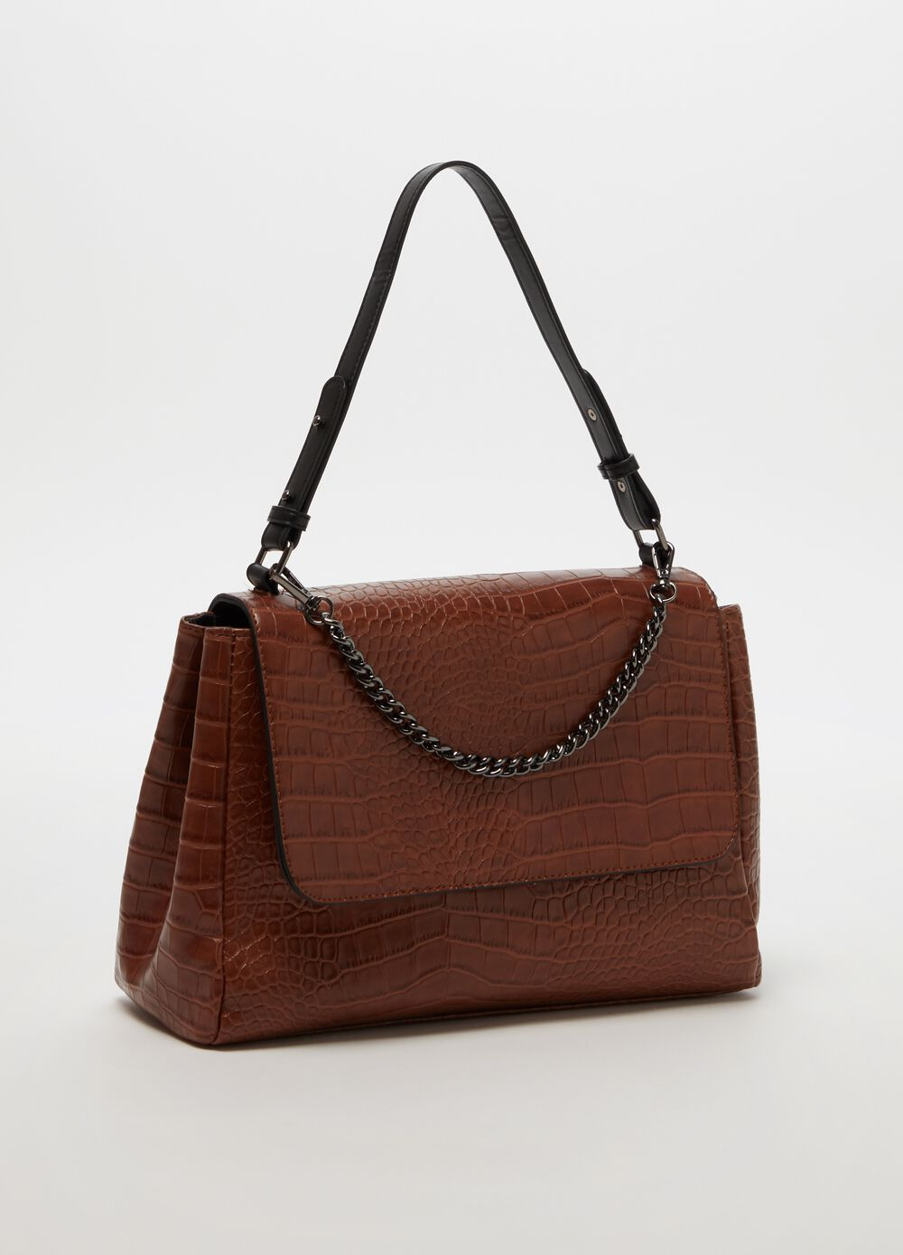 Coconut-effect briefcase with contrasting handle