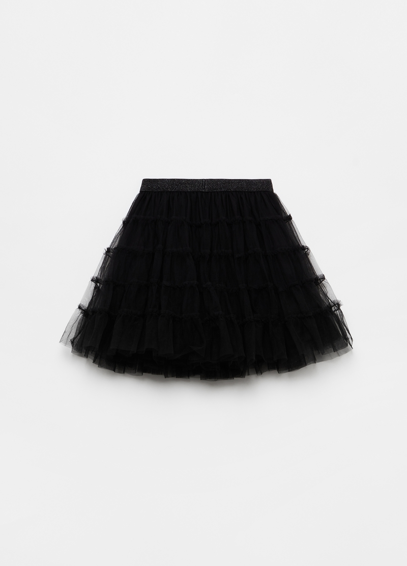 Gonna in tulle plissé a balze image number null