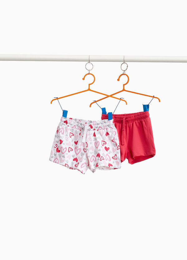 Two-pack cotton shorts with hearts and solid colour