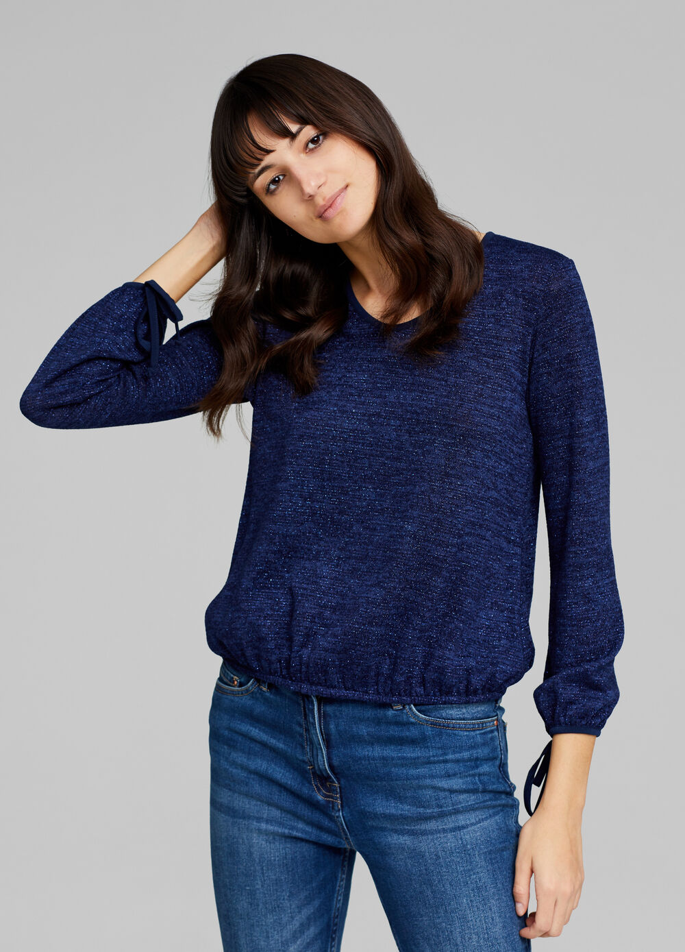 Pullover with lurex and laces on the cuffs