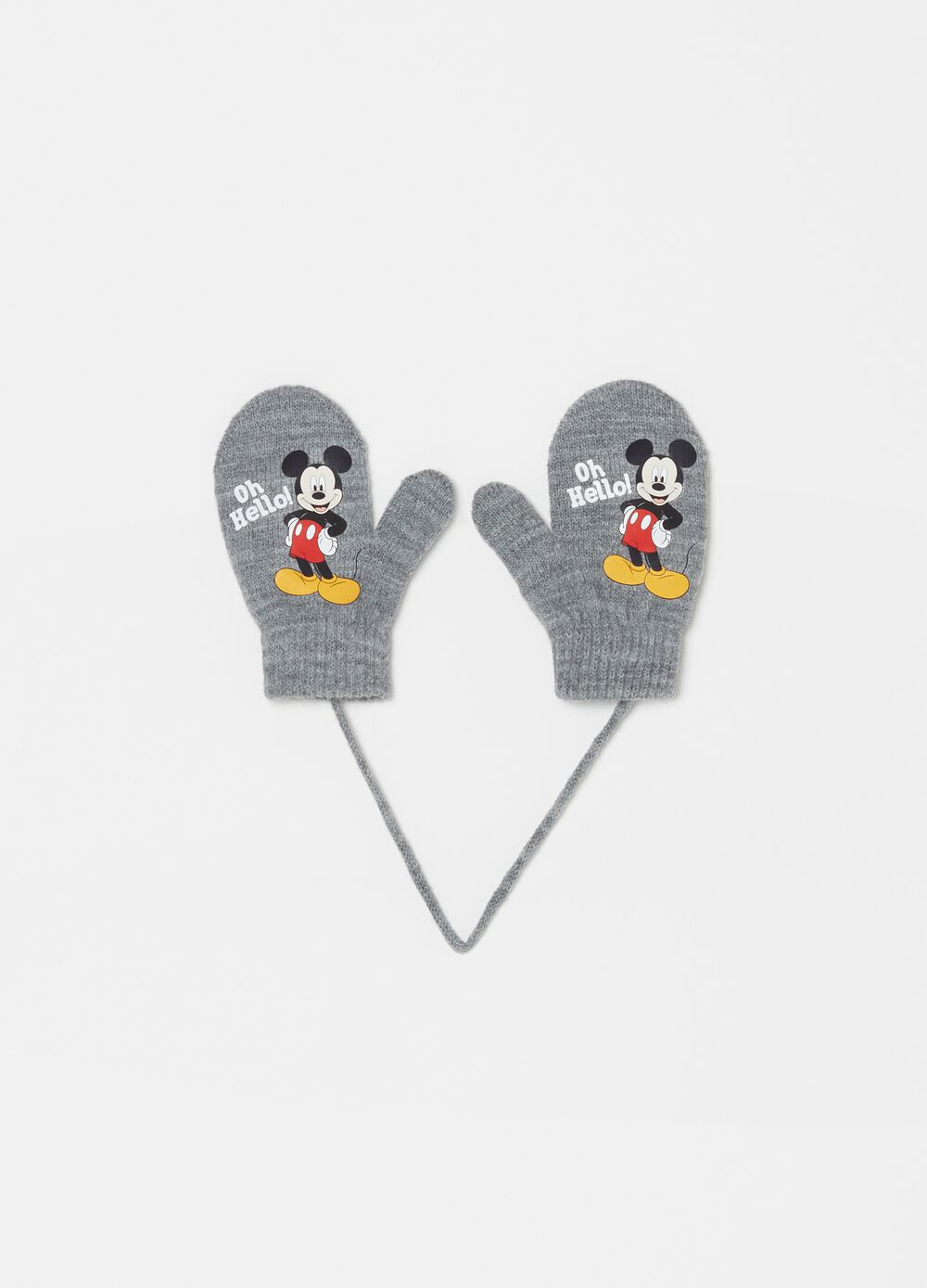 Mélange gloves with Disney Mickey Mouse print