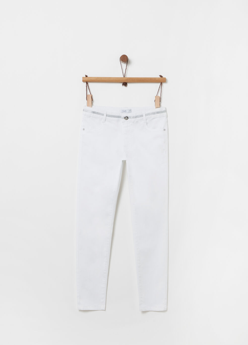 Stretch trousers with ribbon and pockets