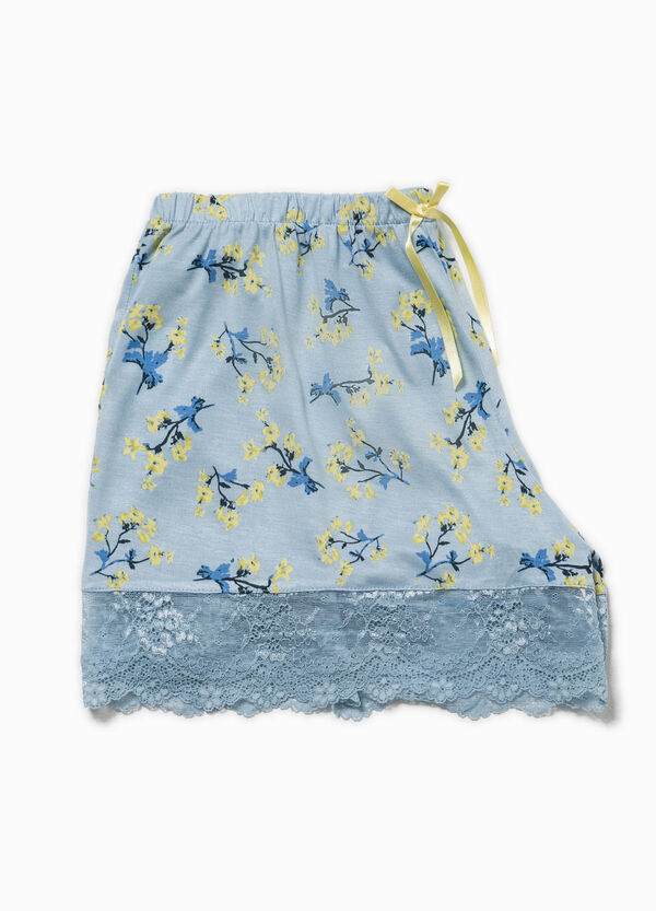 Floral pyjama shorts with lace | OVS