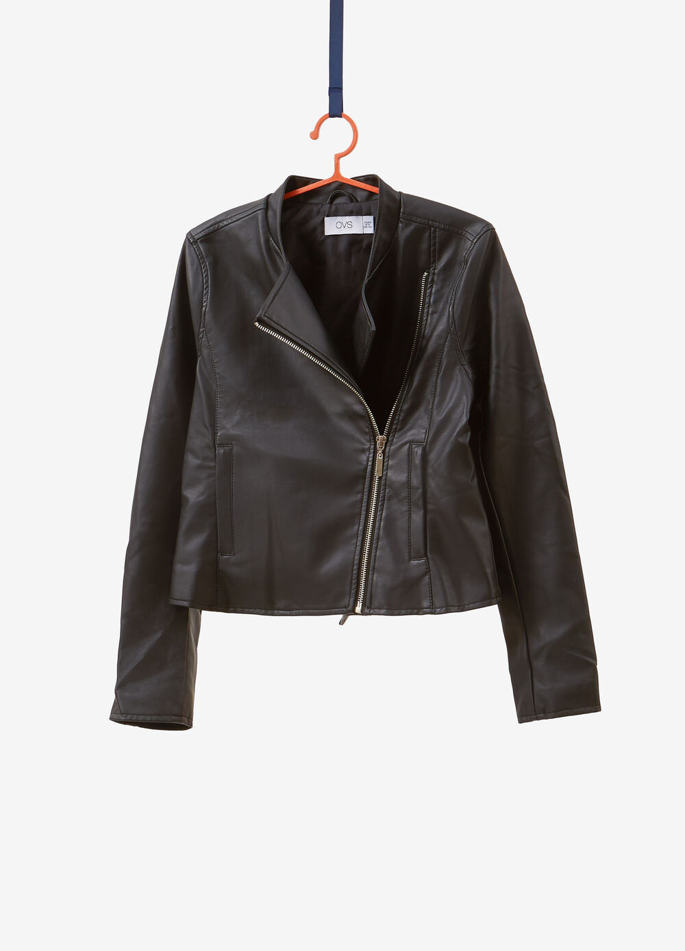 Leather-look jacket with asymmetric zip