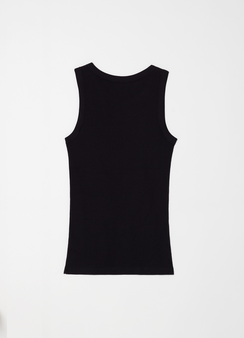 Ribbed cotton racerback top with wide shoulder straps image number null