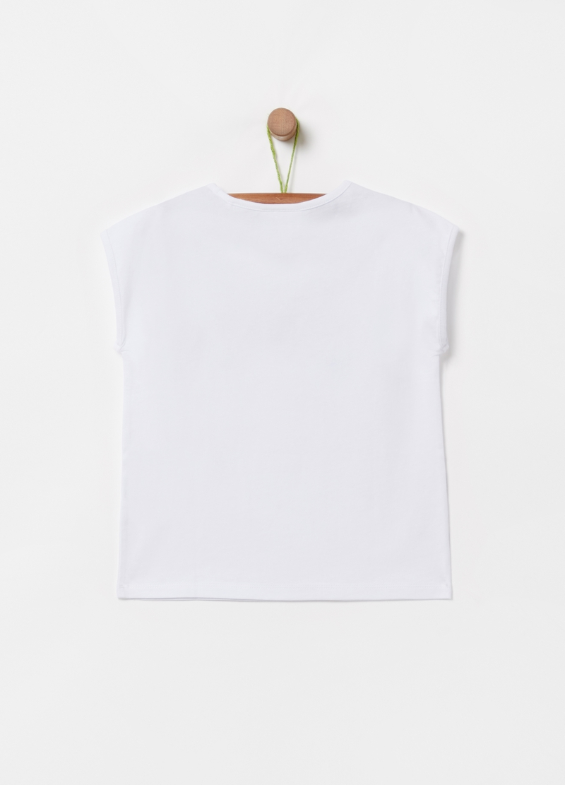 T-shirt puro cotone stampa lettering e foglie image number null
